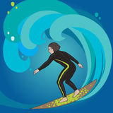 Surfer in swimwear. Vector illustration of slim surfer in swimwear with long hair riding the wave Royalty Free Stock Photos
