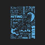 Surfer  t-shirt graphics with kite.  poster Royalty Free Stock Photo