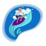 Surfer in t-shirt and shorts swims on the wave vector image vector illustration