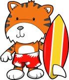 Surfer-Tiger-Vektor Lizenzfreie Stockfotos