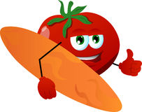 Surfer tomato with thumb up Stock Images