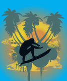 Surfer in tropical background Royalty Free Stock Photography