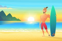 Surfer on tropical beach. Happy man standing Sunset bay Royalty Free Stock Images