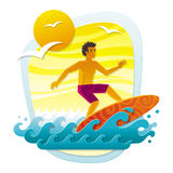 Surfer in tropical sea Stock Photography
