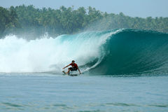 Surfer turning off bottom on big wave, Mentawai Is Stock Image