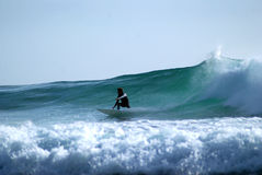 Surfer turning on a wave Royalty Free Stock Images
