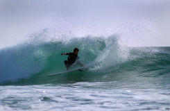 Surfer turning on a wave Royalty Free Stock Photo