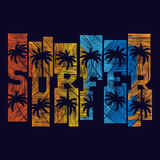 Surfer typography poster. T-shirt fashion Design. Royalty Free Stock Images