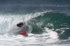 Surfer under the Lip, Tube Rider Royalty Free Stock Photos