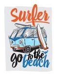 Surfer Van Illustration Στοκ εικόνα με δικαίωμα ελεύθερης χρήσης