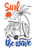 Surfer Van Illustration Στοκ Εικόνες
