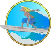 Surfer. Vector Illustration of surfing - Extreme Sport Stock Photography