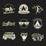 Surfer vector set. Beach life style. Royalty Free Stock Image