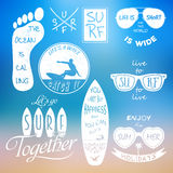 Surfer vector set. Vintage elements and labels Stock Photos