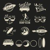 Surfer vector set. Vintage surf elements. Surfer vector set. Vector retro surfing labels, badges and design elements Stock Photo
