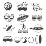 Surfer vector set. Vintage surf elements. Vector retro surfing labels, badges and design elements Stock Photography