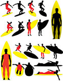 Surfer Vector Silhouettes Stock Image