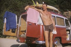 Surfer by VW van Royalty Free Stock Images