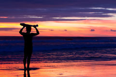 Surfer Waiting For The Right Wave. Surfer Watching The Sunset On Ecuadorian Coast Royalty Free Stock Images