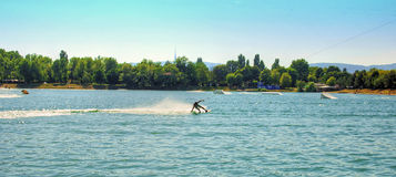 Surfer on Wakeboard Royalty Free Stock Image