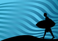 Surfer Walking Stock Image