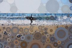 Surfer walking on beach. Abstract mosaic surfer walking on beach Royalty Free Stock Image
