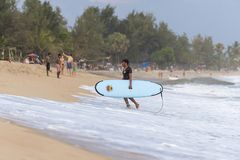 Surfer walking out of the sea. With his surf board in Arugam Bay, Sri Lanka. Arugam Bay is the hotspot in Sri Lanka and probably one of the best places in the Royalty Free Stock Photo