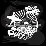 Surfer walking, Tropical calligraphic design Royalty Free Stock Photos