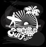 Surfer walking, Tropical calligraphic design stock illustration