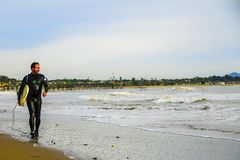 Surfer walks the Beach in the Morning stock photo