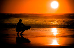 Surfer watching the waves Royalty Free Stock Photo