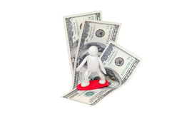 Surfer on the wave 2. Plasticine surfer on the wave of money stock images