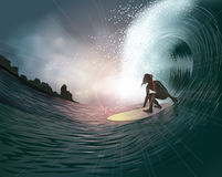 Surfer and wave. At sunset royalty free illustration