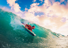 Surfer on Wave Stock Image