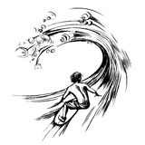 Surfer in wave brush ink sketch handdrawn serigraphy print Stock Images