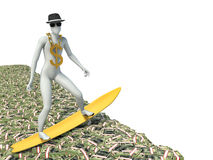 Surfer on a wave of cash. 3d illustration Royalty Free Stock Photo