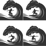 Surfer on a wave monochrome set Royalty Free Stock Photos