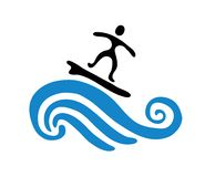 Surfer on the wave, vector illustration Stock Images