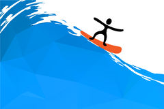Surfer on the wave, vector illustration Royalty Free Stock Photos