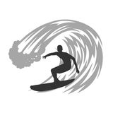 Surfer on wave vector illustration. Royalty Free Stock Photo