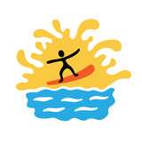 Surfer on the wave, vector illustration Stock Image