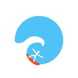 Surfer on the wave, vector logo Royalty Free Stock Photos