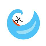 Surfer on the wave, vector logo Stock Images