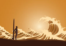 Surfer and waves. At sunset vector illustration