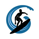 Surfer on waves an illustration on a white backgro Stock Image