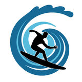 Surfer on waves an illustration on a white backgro Stock Photography