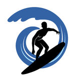 Surfer on waves an illustration on a white background Stock Images