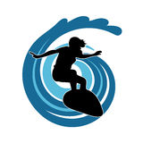 Surfer on waves an illustration on a white background Royalty Free Stock Images