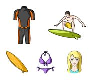 Surfer, wetsuit, bikini, surfboard. Surfing set collection icons in cartoon style vector symbol stock illustration web. Surfer, wetsuit, bikini, surfboard Royalty Free Stock Photo