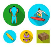 Surfer, wetsuit, bikini, surfboard. Surfing set collection icons in flat style vector symbol stock illustration web. Surfer, wetsuit, bikini, surfboard. Surfing Stock Photo
